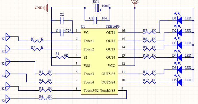 功能描述: 1,按键检测: 芯片内置电容测量电路以及高精度逻辑运算器
